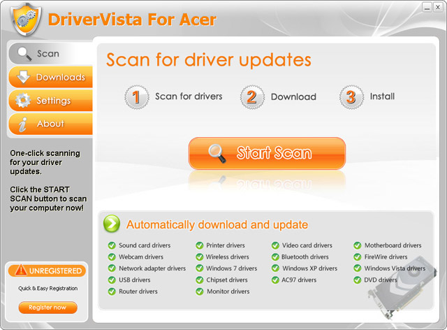 DriverVista For Acer Screenshot
