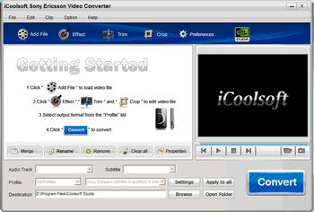 iCoolsoft Sony Ericsson Video Converter Screenshot 1