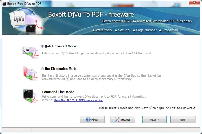 Boxoft Free DJVU to PDF freeware) Screenshot