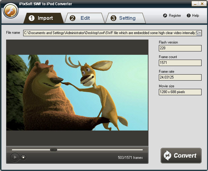 iPixSoft SWF to iPod Converter Screenshot 1