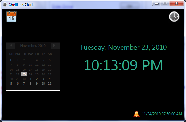 ShellLess Clock Screenshot