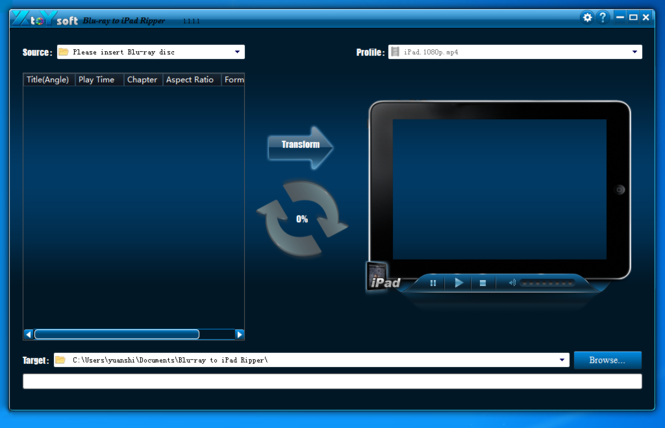 XtoYsoft Blu-ray to iPad Ripper Screenshot