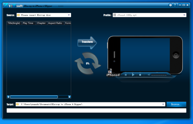XtoYsoft Blu-ray to iPhone 4 Ripper Screenshot