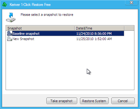 Keriver 1-Click Restore Free Screenshot