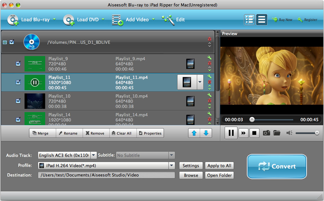 Aiseesoft Blu-ray to iPad Ripper for Mac Screenshot