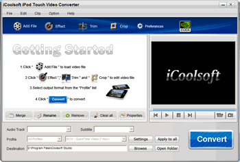 iCoolsoft iPod Touch Video Converter Screenshot