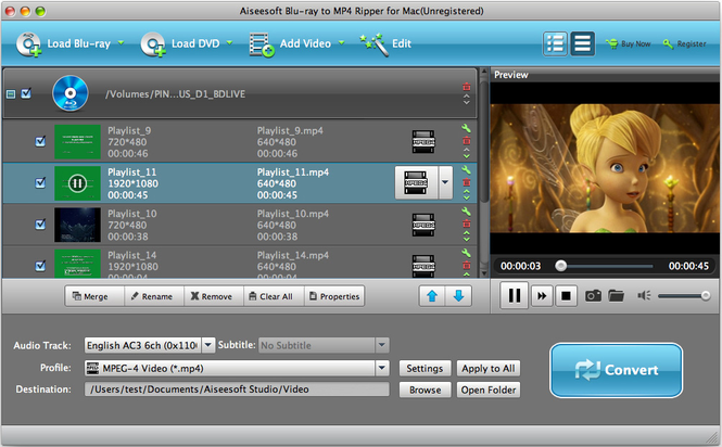 Aiseesoft Blu-ray to MP4 Ripper for Mac Screenshot