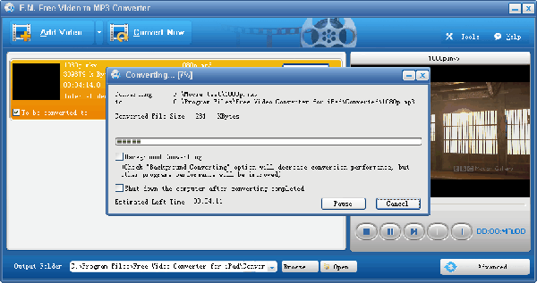 E.M. Free Video to MP3 Converter Screenshot