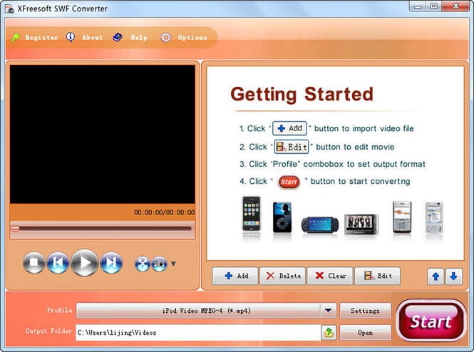 XFreesoft SWF Converter Screenshot 1