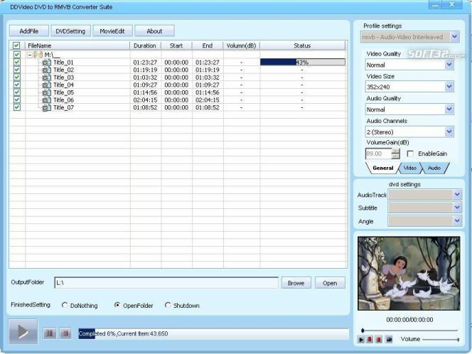 DDVideo DVD to RMVB Converter Suite Screenshot 3