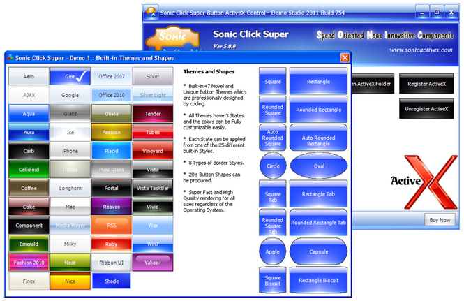 Sonic Click Super Button ActiveX Control Screenshot