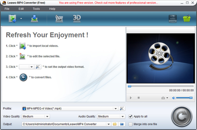 Leawo Free MPG to MP4 Converter Screenshot 1