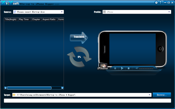XtoYsoft Blu-ray to iPhone Ripper Screenshot