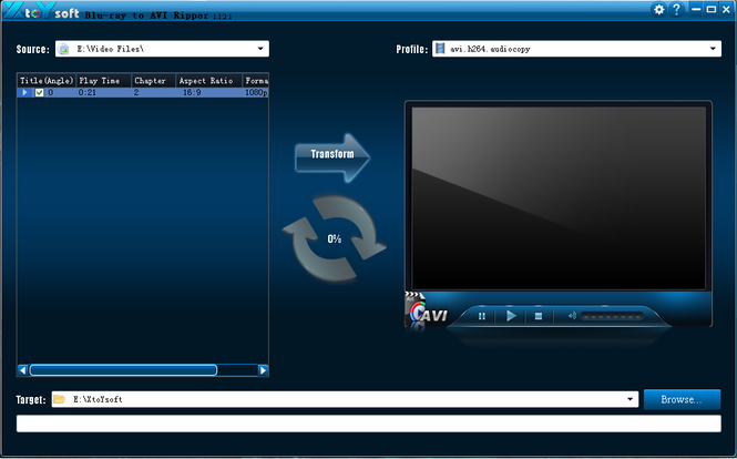 XtoYsoft Blu-ray to AVI Ripper Screenshot