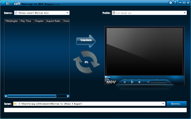 XtoYsoft Blu-ray to MOV Ripper Screenshot