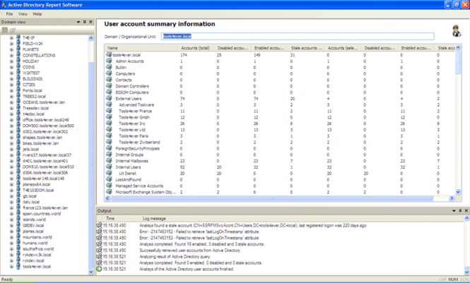 Active Directory Report Software Screenshot