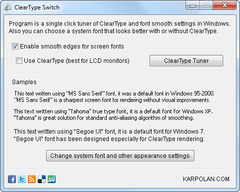 ClearType Switch Screenshot