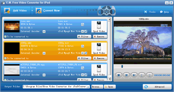 E.M. Free Video Converter for iPod Screenshot