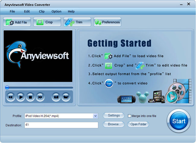 Anyviewsoft Video Converter Screenshot 1