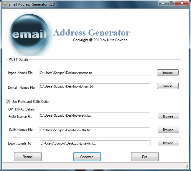 Email Address Generator Screenshot 1