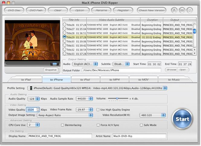 MacX iPhone DVD Ripper Screenshot 1