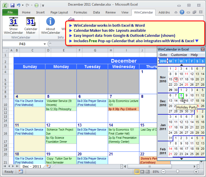 WinCalendar Screenshot