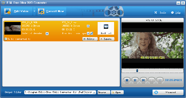 E.M. Free Video Converter for DivX DVD Screenshot 1