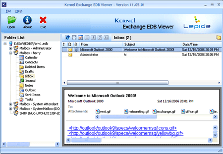Kernel Exchange EDB Viewer Screenshot