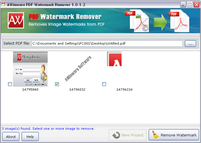 Pdf file Watermark Remover Screenshot