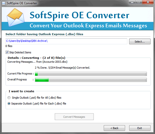 DBX Converter for Outlook Screenshot