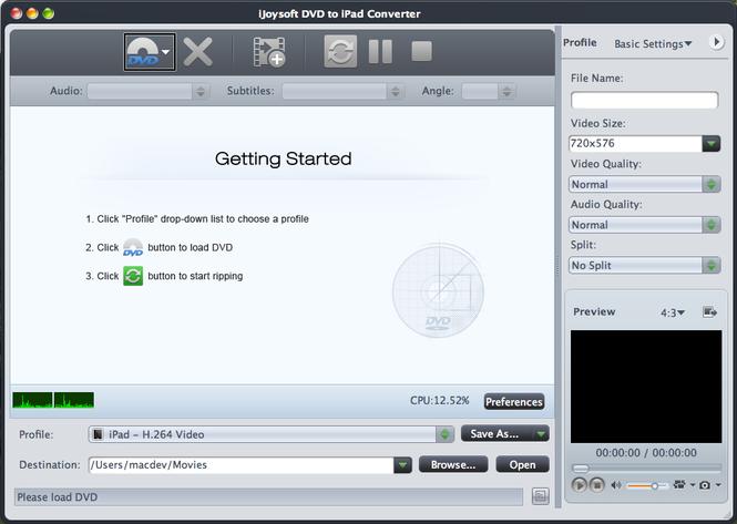 iJoysoft DVD to iPad Converter for Mac Screenshot