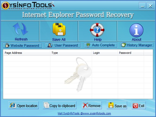 SysInfoTools IE Password Recovery Screenshot