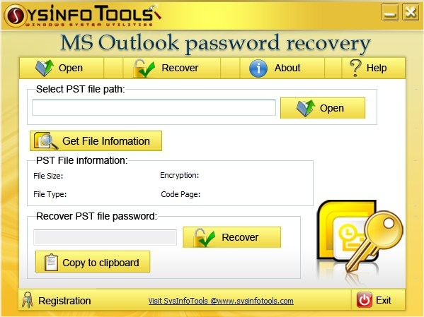 SysInfoTools MS Outlook Password Recovery Screenshot