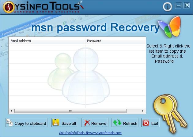 SysInfoTools MSN Password Recovery Screenshot