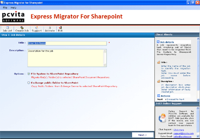 Lotus Notes to SharePoint Screenshot