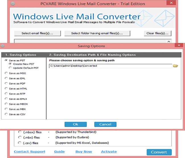 PCVARE Windows Live Mail Converter Screenshot