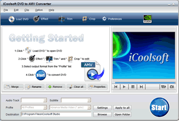 iCoolsoft DVD to AMV Converter Screenshot