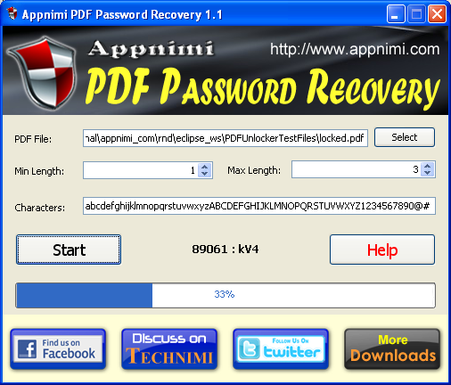 Appnimi PDF Password Recovery Screenshot