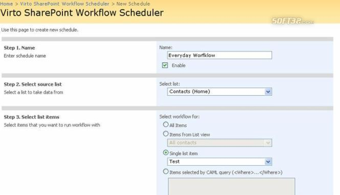 Virto SharePoint Worfklow Scheduler Screenshot 2