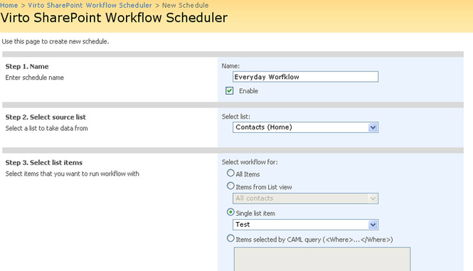 Virto SharePoint Worfklow Scheduler Screenshot 1
