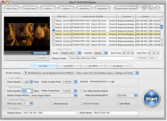 MacX iPod DVD Ripper Screenshot 2