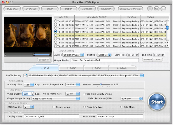 MacX iPod DVD Ripper Screenshot