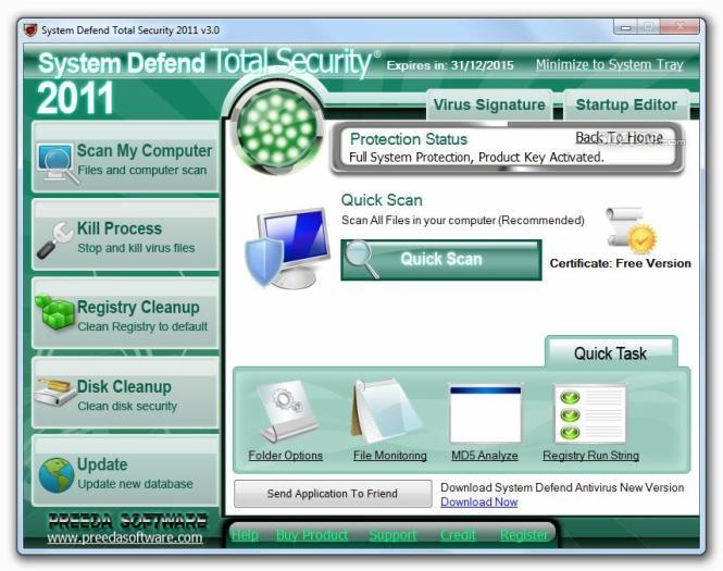 System Defend Total Security Screenshot