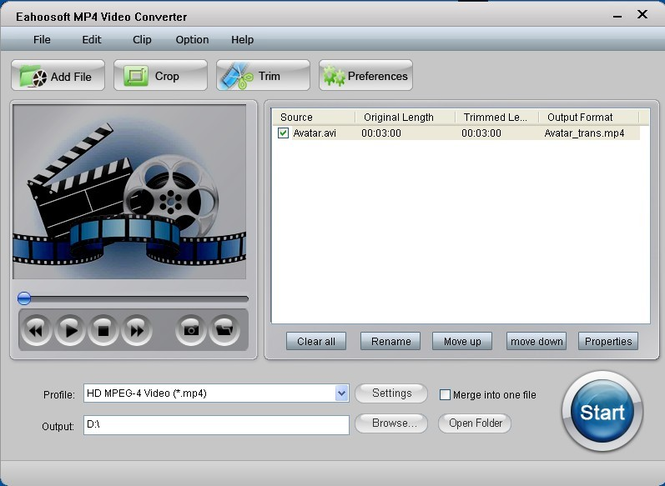 Eahoosoft MP4 Video Converter Screenshot 1