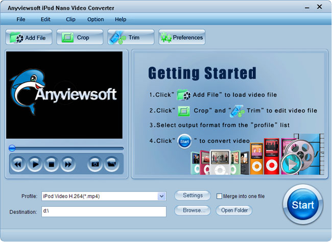 Anyviewsoft iPod Nano Video Converter Screenshot