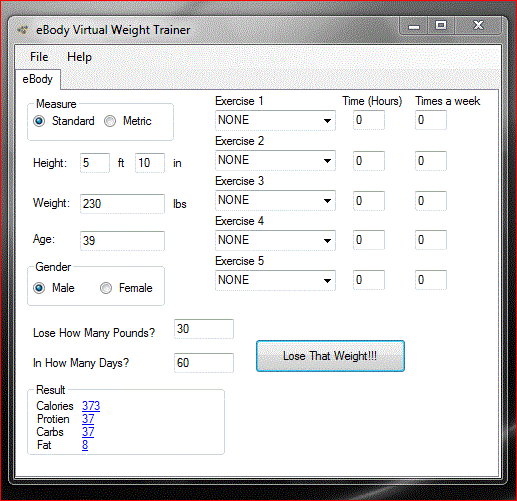 eBody Virtual Weight Trainer Screenshot