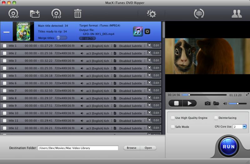 MacX iTunes DVD Ripper Screenshot 2