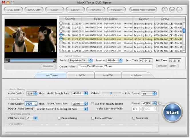 MacX iTunes DVD Ripper Screenshot 3