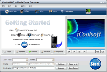 iCoolsoft DVD to Mobile Phone Converter Screenshot 1