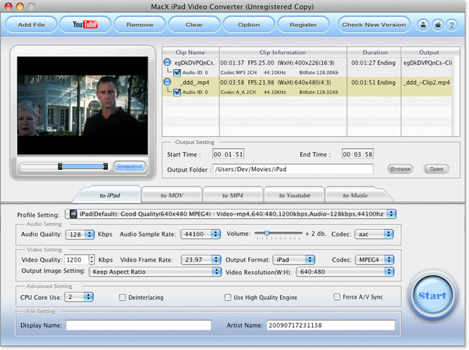 MacX iPad Video Converter Screenshot